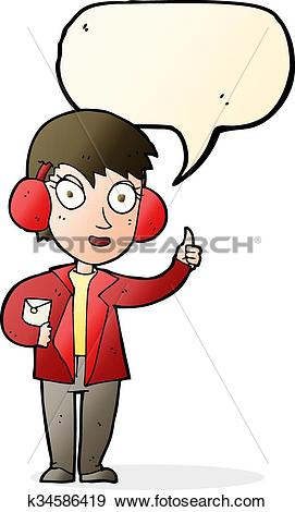 Clip Art of cartoon air force woman with speech bubble k34586419.