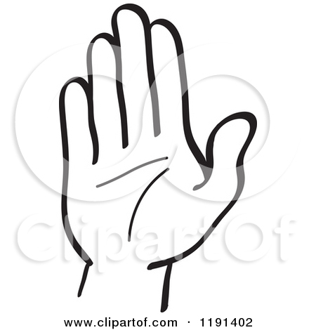 Clipart of a Black and White Hand Holding up a Middle Finger.