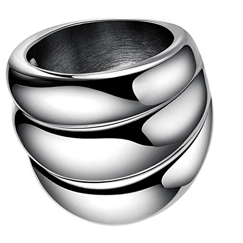 Phenovo Fashion Finger Rings 316L Steel Wave Pattern Jewelry.