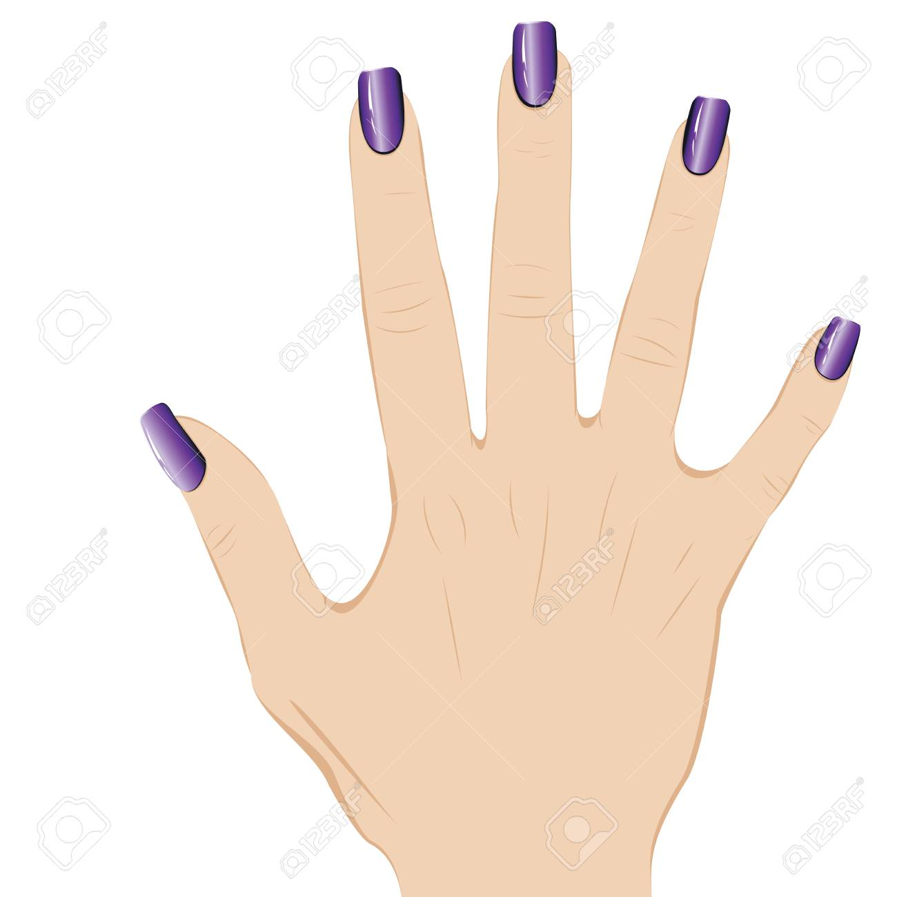 Female fingers with long nails dyed with nail polish..