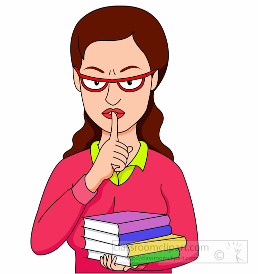 Librarian Iwth Fingers Over Lips For Quiet Clipart » Clipart.
