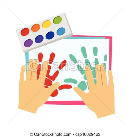 Two Hands Painting With Finger Paint, Elementary School Art Class Vector  Illustration.