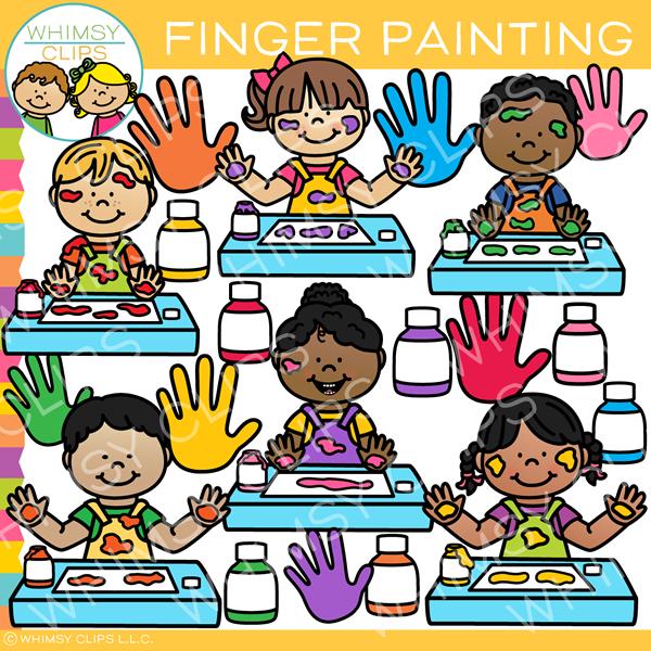 Kids Finger Painting Clip Art.