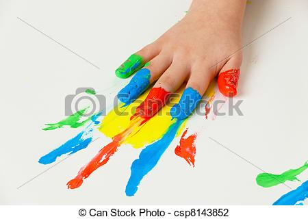 Stock Photo of child with finger paints colors.