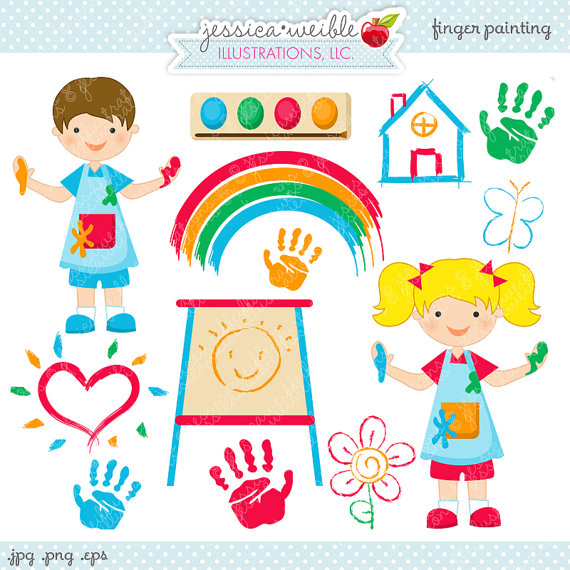 Finger Painting Cute Digital Clipart.