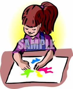Girl Finger Painting a Picture Clipart Picture.