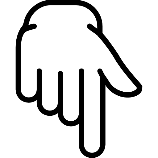Finger, interface, Gestures, Pointing Down, Hands And Gestures icon.