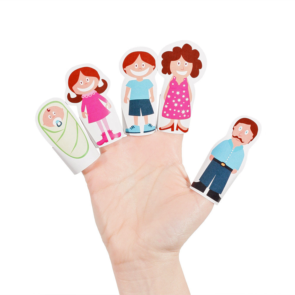 Paper finger puppets.