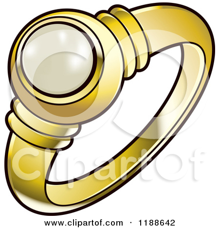 Clipart of a Silver Wedding Ring with a Blue Diamond.