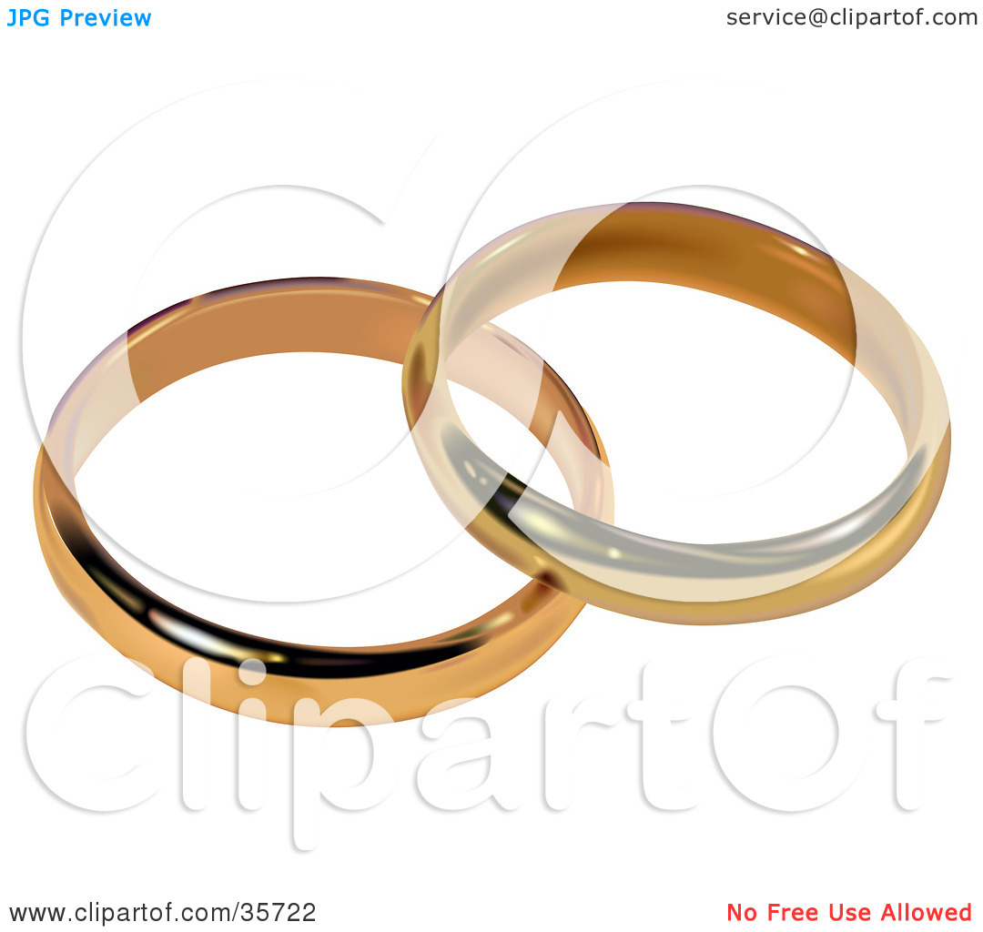 Clipart Illustration of Two Gold Bridal Wedding Rings Resting.