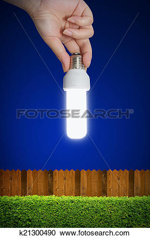 Stock Illustrations of hand holding a light bulb with shrub and.