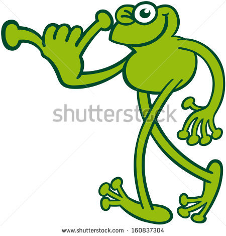 Nice Green Frog While Winking, Smiling, Walking And Greeting By.