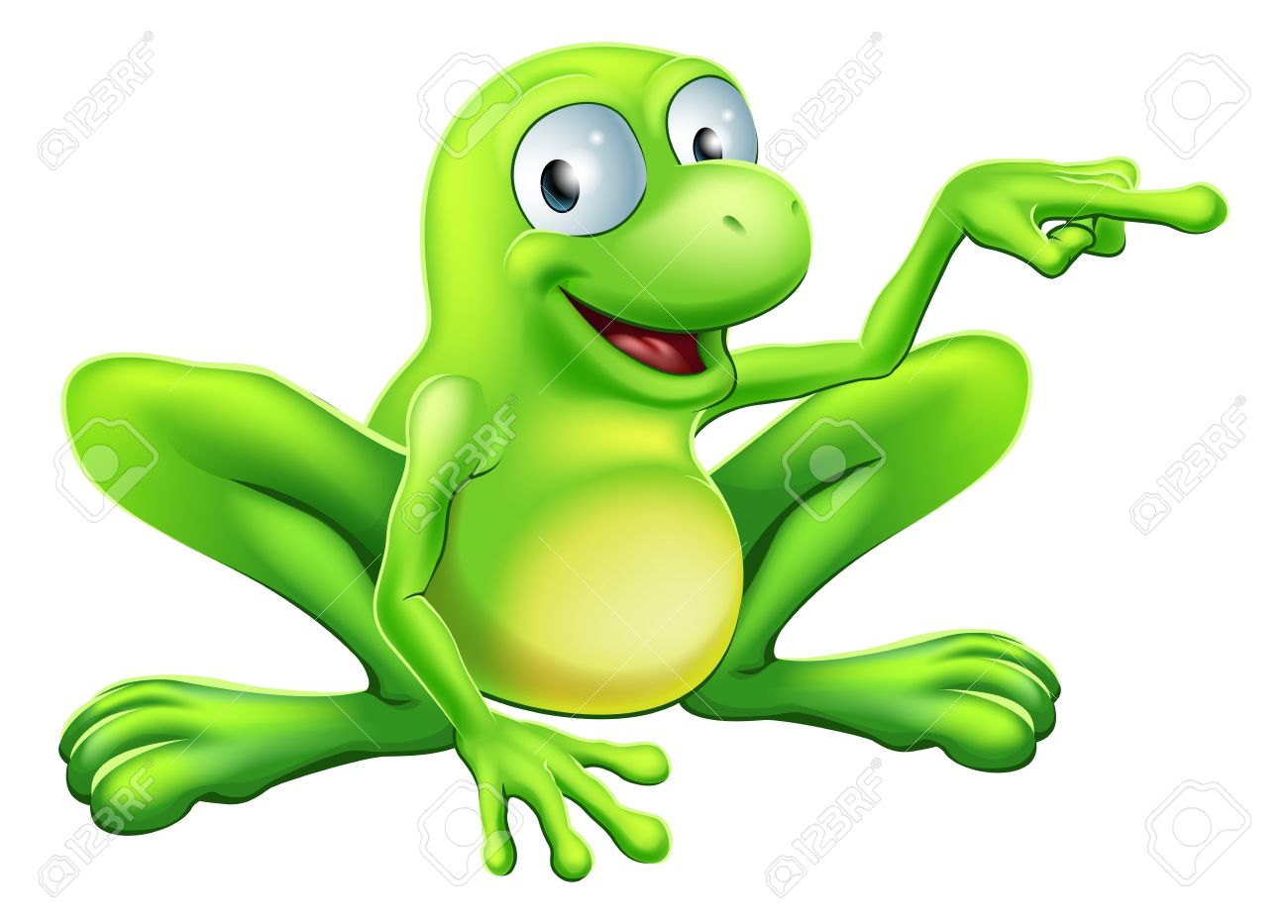 An Illustration Of A Cute Green Happy Frog Character Pointing.