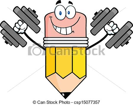 Clipart Vector of Pencil Training With Dumbbells.