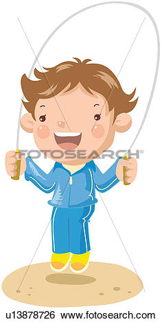 Clip Art of exercise, rope jumping, rope skipping, physical.