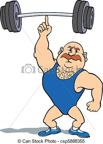 Stock Illustrations of Weightlifter using finger.