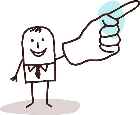 businessman pointing finger up Clipart Image.