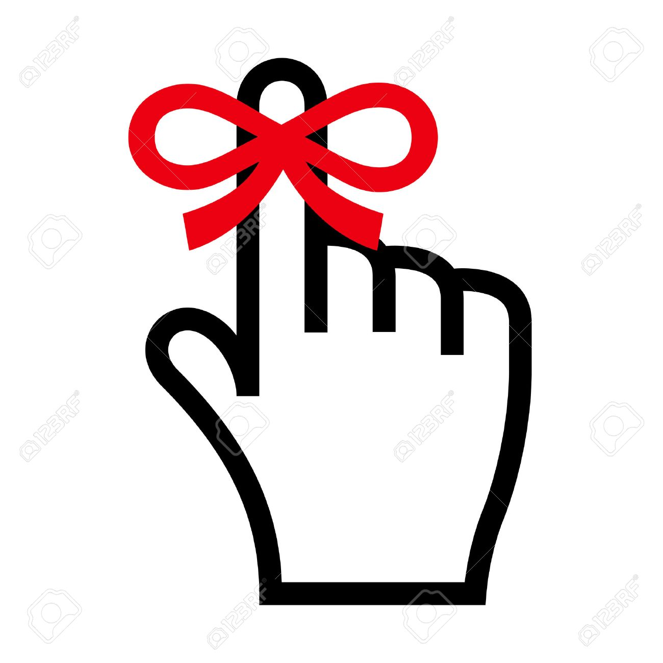 Finger With Ribbon Clipart.