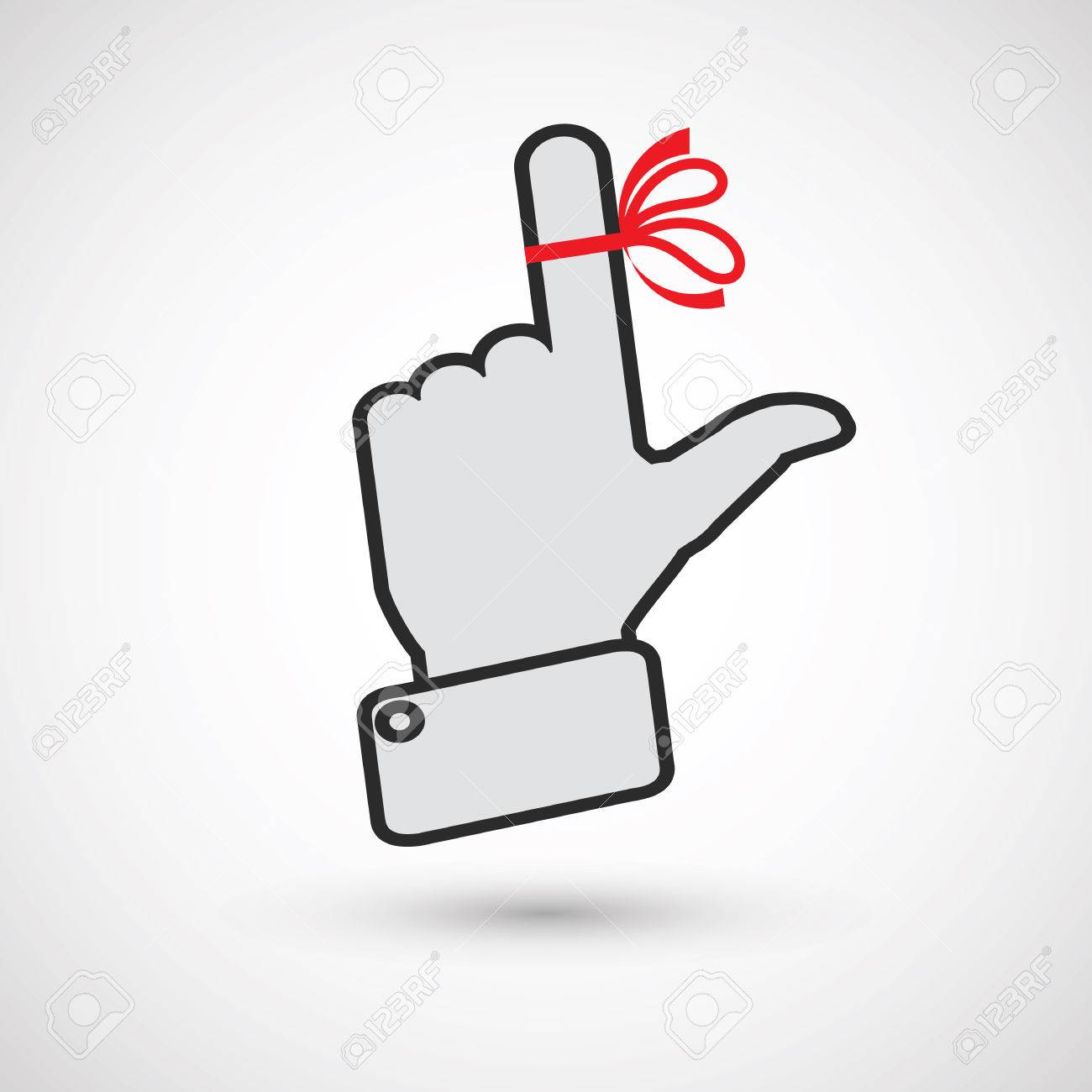 Hand with red ribbon on your finger, concepts sclerosis. Reminder...