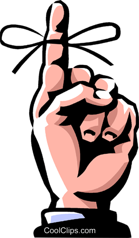 Clipart Finger With String Tied Around It.