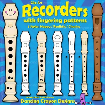 Recorder Clip Art and Recorder Fingering Charts.
