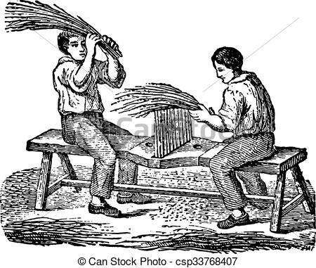 Vector Clipart of Workers fingering flax comb, vintage engraving.