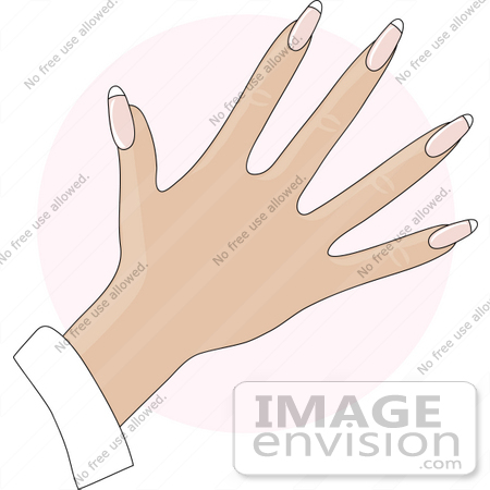 Clip Art Graphic of a Lady's Hand With Natural French Tip Acrylic.