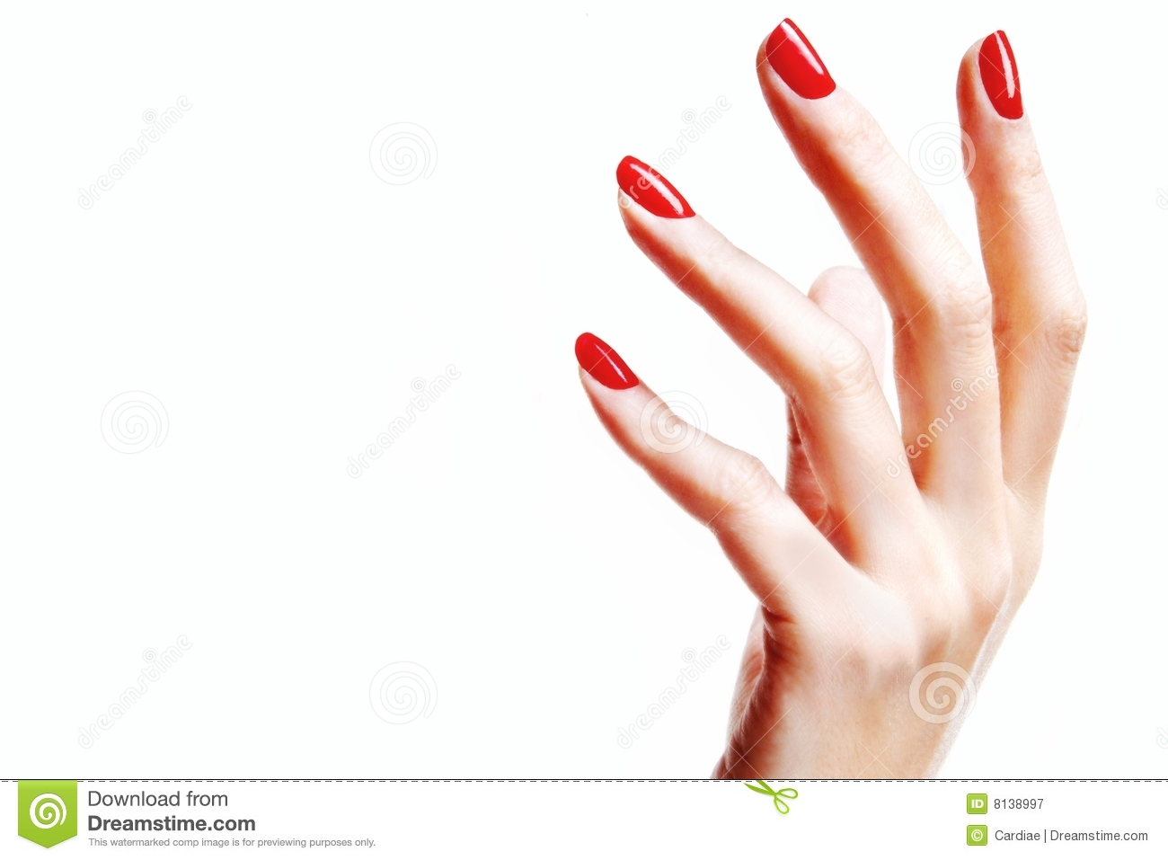 Hand With Red Fingernails Royalty Free Stock Photography.