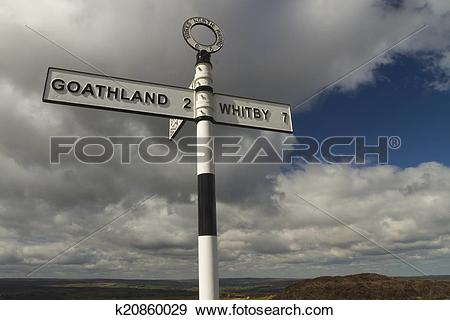 Stock Photograph of British Finger post sign, North Yorkshire.