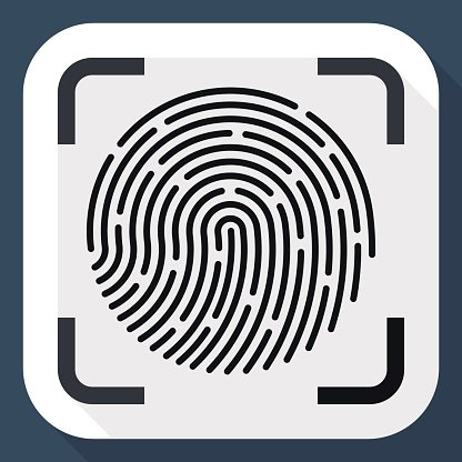 Vector Fingerprint Scanner icon. Clipart Image.