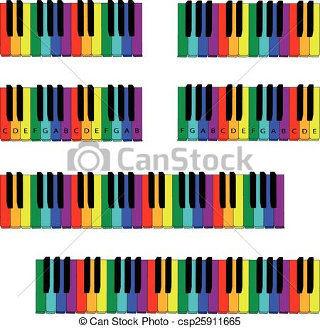 Clip Art Vector of colored piano keyboard set with fingering.