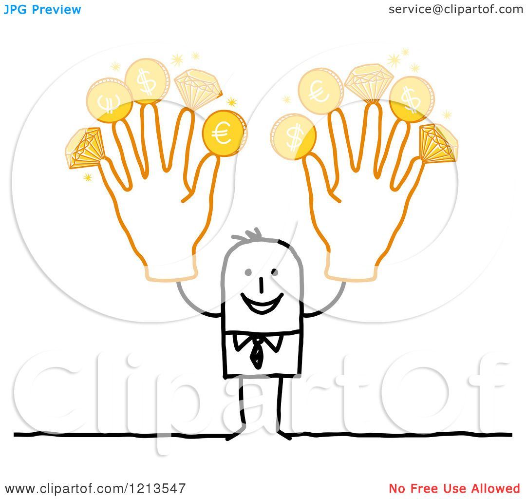 Clipart of a Stick People Business Man Holding up Rich Fingers.