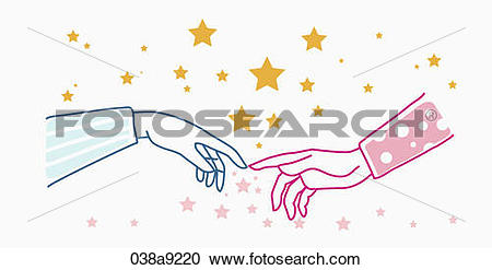 Stock Illustrations of Two fingertips touching 038a9220.