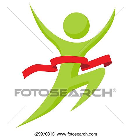Man Runs Across Finish Line Clipart.