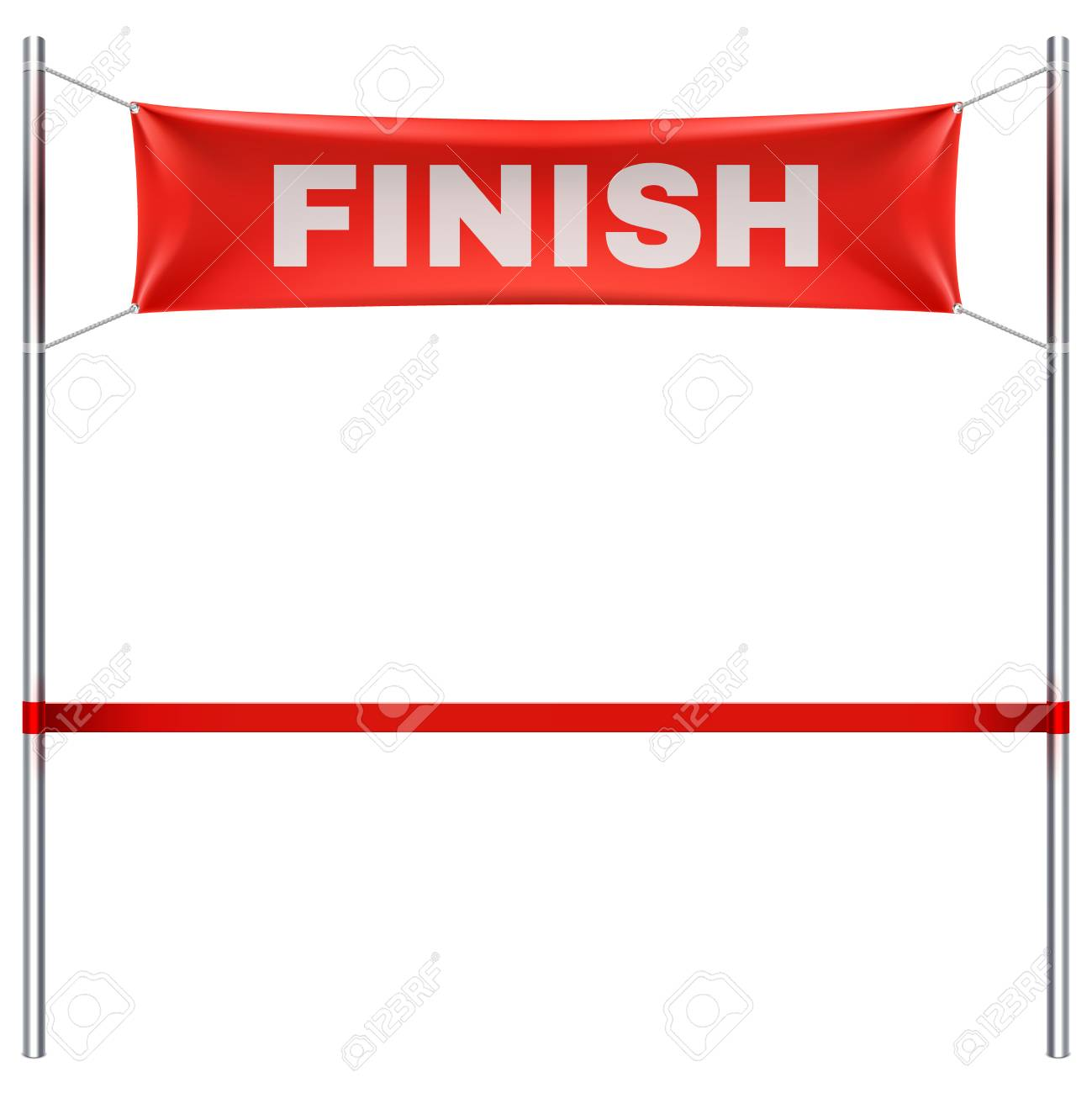 Finish line with red textile banner and ribbon vector illustration...