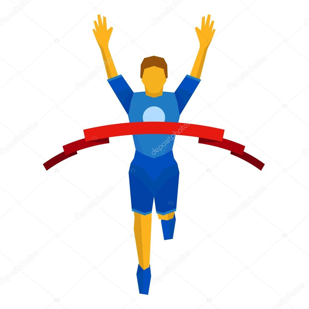 Athlete crosses finish line red ribbon. Front view. — Stock Vector.