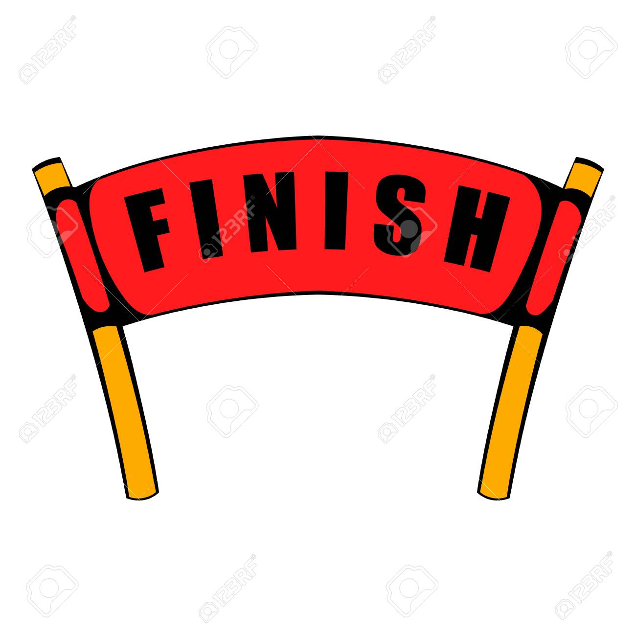 Red ribbon in finishing line icon, icon cartoon.