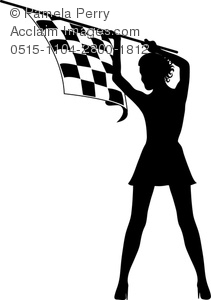 Clip Art Silhouette of a Sexy Woman Holding a Black and White.