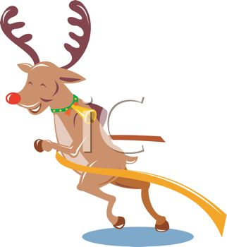Picture of a Reindeer Smiling and Pushing His Way Through a Finish.
