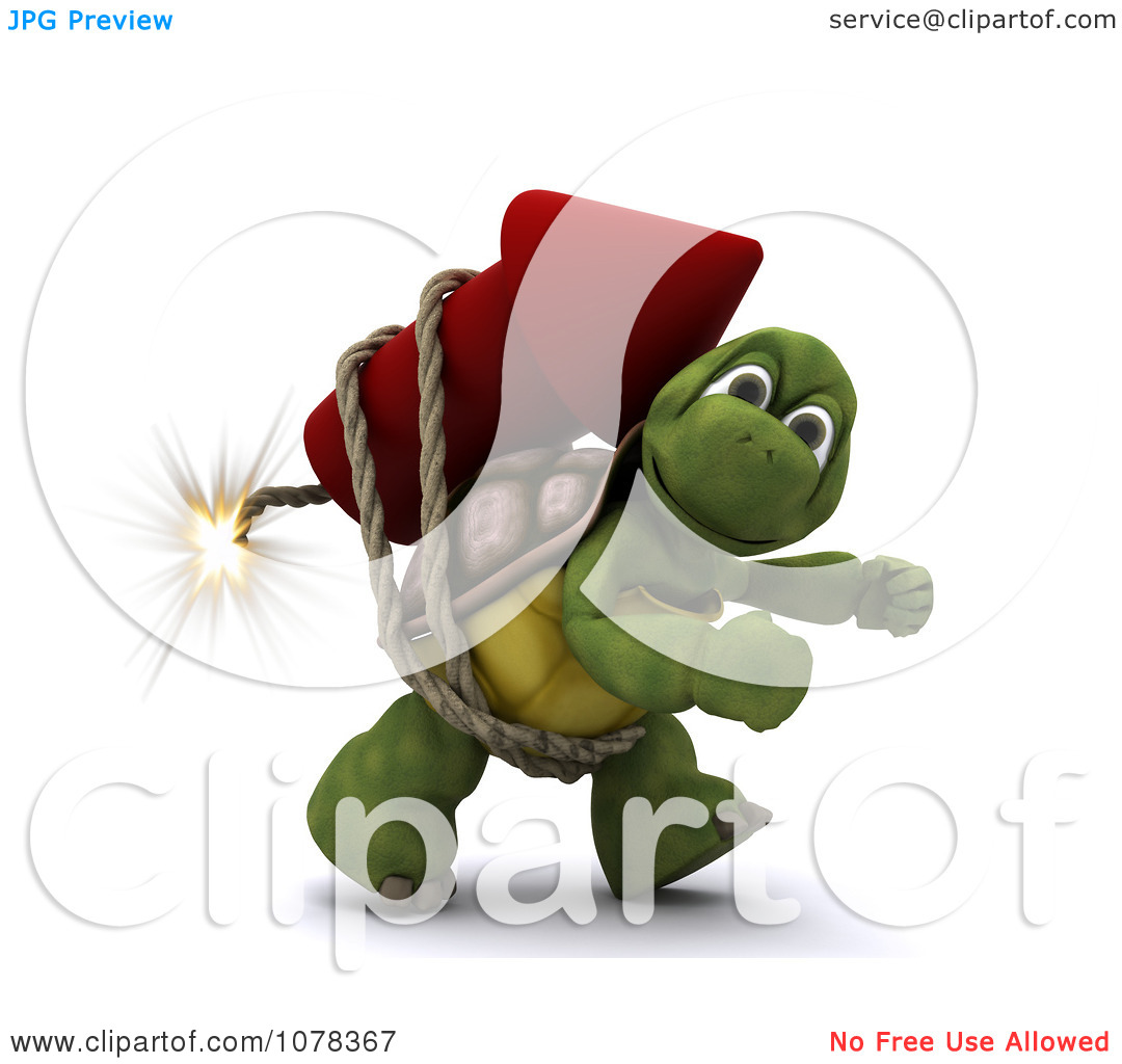 Clipart 3d Tortoise Strapped To A Fourth Of July Rocket Firework.