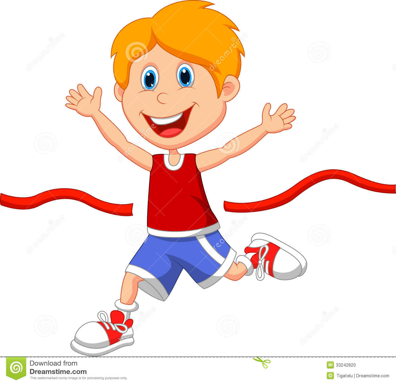 Clipart boy crossing finish line.