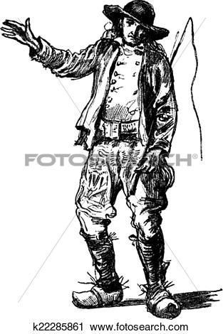 Clipart of Farmer of Finistère, vintage engraving. k22285861.