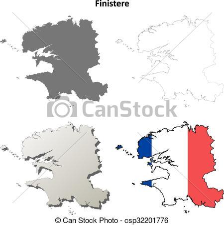 Vectors Illustration of Finistere, Brittany outline map set.