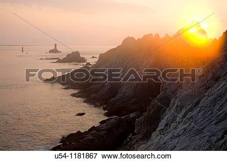 Picture of SUNSET AT POINTE DU RAZ. FINISTERE. SOUTH BRITTANY.