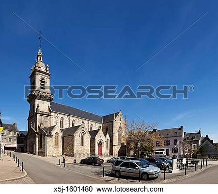 Stock Photography of Saint Julien church in Chateauneuf du Faou.