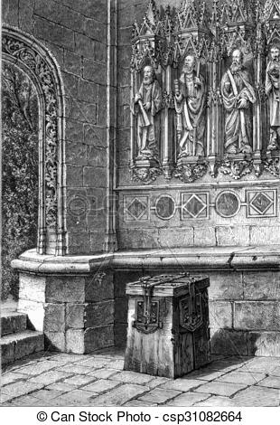 Stock Illustration of Porch of the Church of Peneran (Finistère.