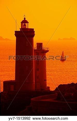 Stock Photo of Sunset at the Petit Minou Lighthouse Petit Minou.