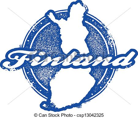 Vector Illustration of Vintage Finland Country Stamp.