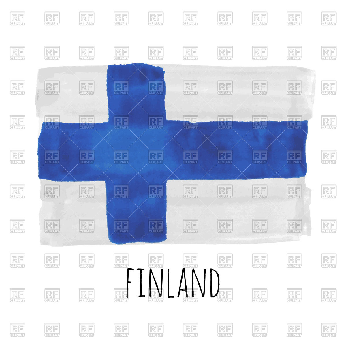Hand drawn watercolor Finland flag Vector Image #70197.