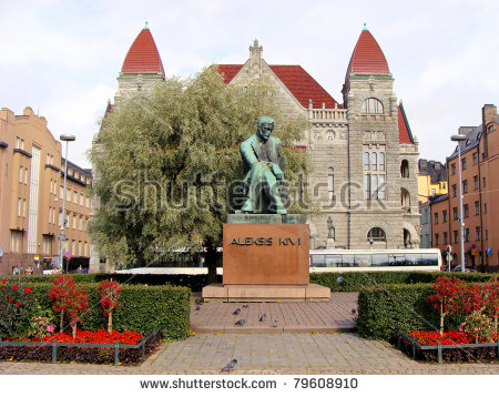 Statue Of Famous Finnish Author, Aleksis Kivi In Front Of The.
